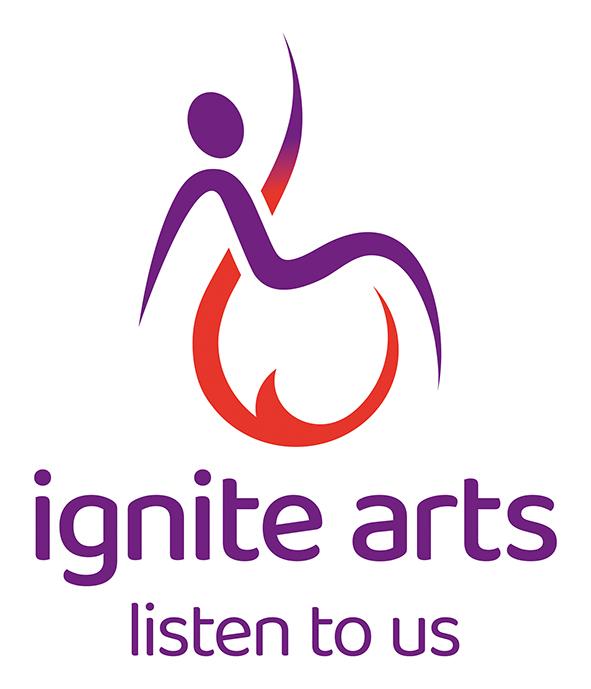 Ignite Arts Logo - image, text reading Ignite Arts Listen to us